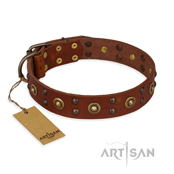 Unique full grain leather dog collar with rust-proof D-ring