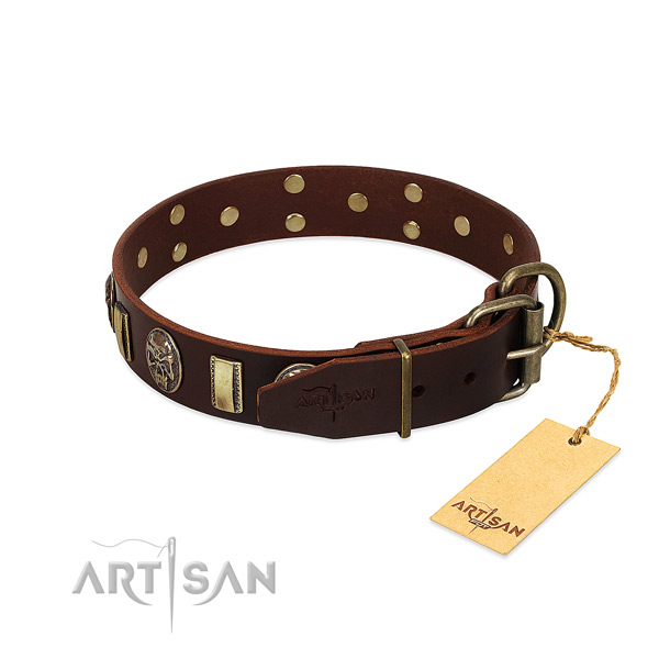 Leather dog collar with rust resistant fittings and decorations