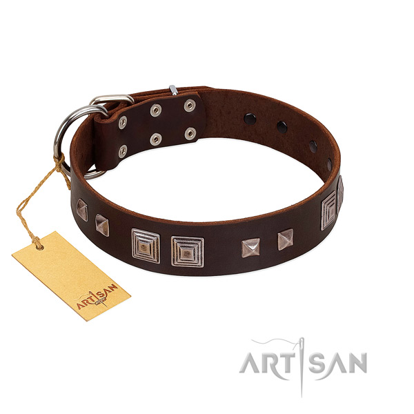 Rust-proof traditional buckle on full grain genuine leather dog collar for comfy wearing