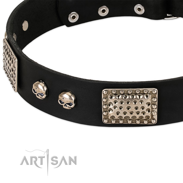 Strong studs on natural genuine leather dog collar for your pet