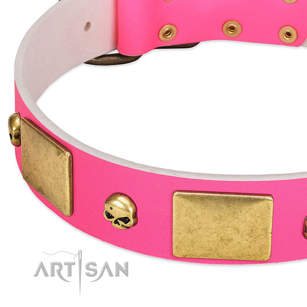 Strong full grain natural leather collar with rust resistant decorations for your dog
