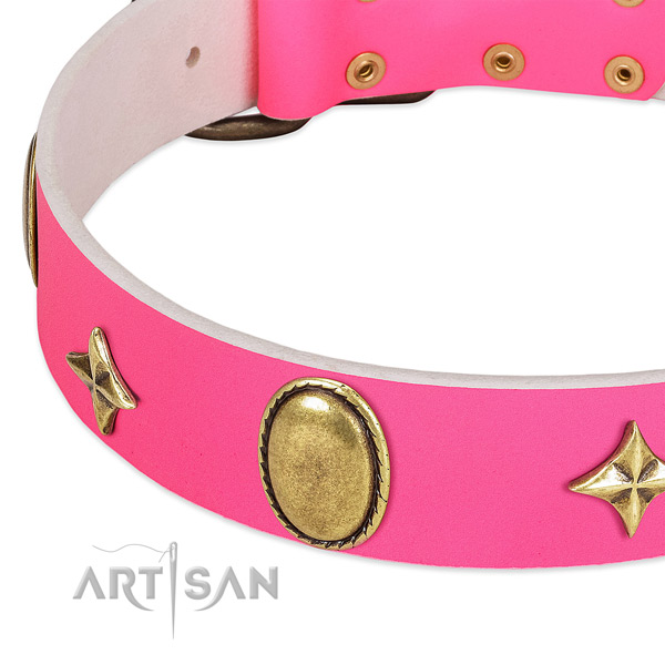 Strong full grain genuine leather collar with top notch adornments for your dog
