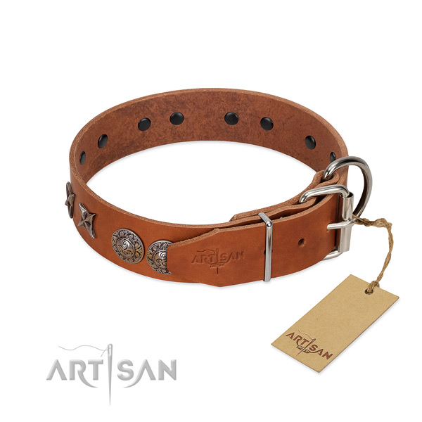 Handy use gentle to touch leather dog collar with embellishments