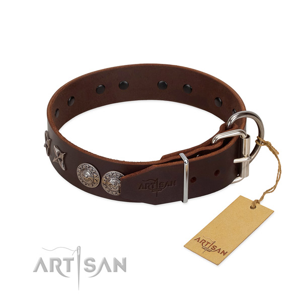 Daily use high quality genuine leather dog collar with adornments
