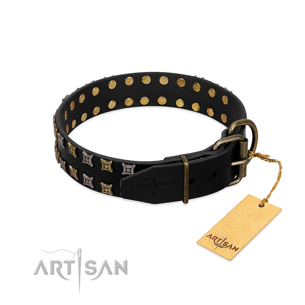 Soft to touch natural leather dog collar handcrafted for your pet