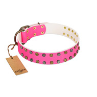 """Blushing Star"" FDT Artisan Pink Leather English Pointer Collar with Two Rows of Small Studs"