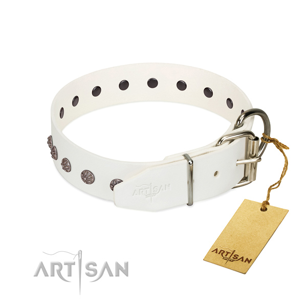Reliable full grain genuine leather dog collar with embellishments for your doggie
