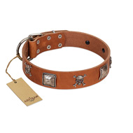 """Amorous Escapade"" Embellished FDT Artisan Tan Leather English Pointer Collar with Chrome Plated Crossbones and Plates"