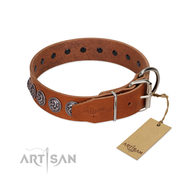 Reliable fittings on full grain genuine leather dog collar for everyday walking your doggie