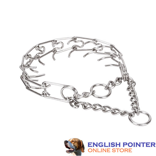 Prong collar of corrosion resistant stainless steel for ill behaved dogs