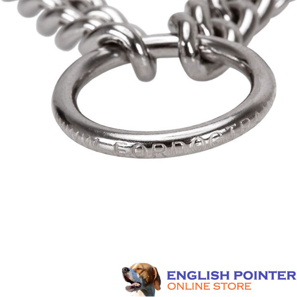 Premium-quality chrome plated steel pinch collar for disobedient dogs