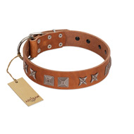 """Antique Figures"" FDT Artisan Tan Leather English Pointer Collar with Silver-like Engraved Plates"