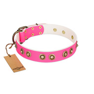 """Bright Delight"" Pink FDT Artisan Leather English Pointer Collar with Large Old Bronze-like Plated Studs"