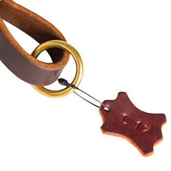 Leather Pull Tab for English Pointer with O-ring for Leash Attachment